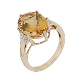 Ring 585 Gelbgold Goldberyll, Brillanten