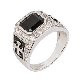 Ring 925 Sterling Silber, Onyx, Zirkonia