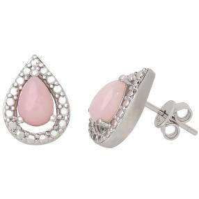 Ohrstecker 925 Sterling Silber, Pink Opal