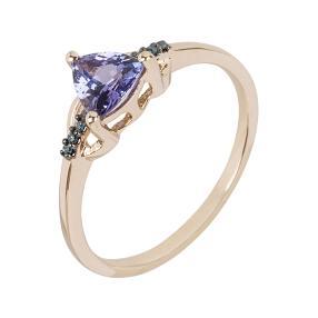 Ring 375 Gelbgold Tansanit, blaue Diamanten