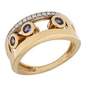STAR Ring 585 Gelbgold AAAATansanit