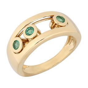 STAR Ring 585 Gelbgold Sambia Smaragd
