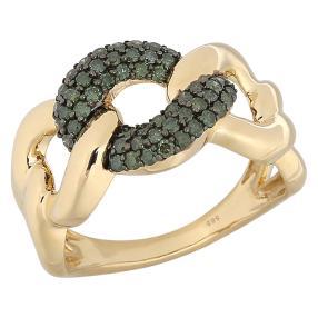 STAR Ring 585 Gelbgold Brillanten grün