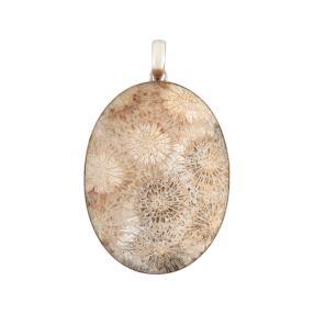 Anhänger 925 Sterling Silber Fossile Koralle