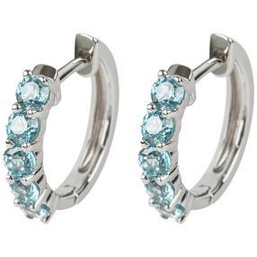 Creolen 925 Sterling Silber, Zirkon blau