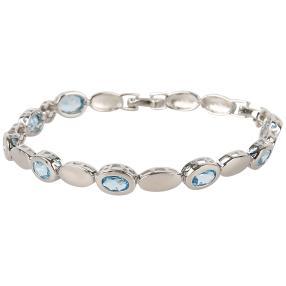 Armband 925 Silber, Swiss Blue Topas beh.