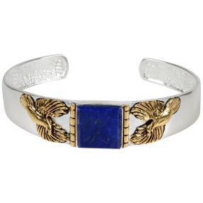 Armreif 925 St. Silber Adler bicolor Lapis