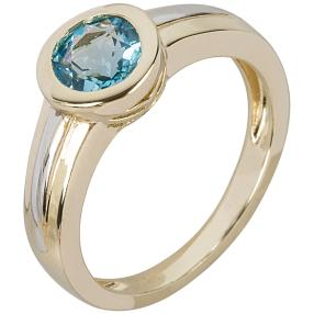 Ring 925 St. Silber bicolor Swiss Blue Topas beh.