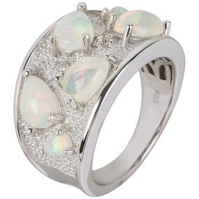 Ring 925 Sterling Silber Äthiopischer Opal, Zirkon