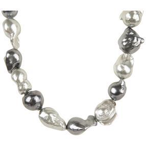Collier SWZ-Perlen grau/silber