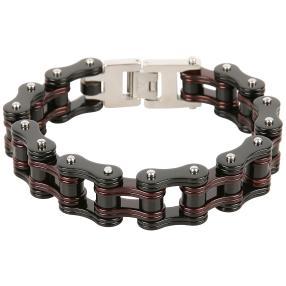 Armband Edelstahl, schwarz/dunkelrot