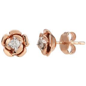 Ohrstecker 375 Roségold Diamanten