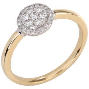 Ring 585 Gelbgold, Weißgold Diamanten