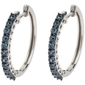 Creolen 925 Silber, Diamanten blau