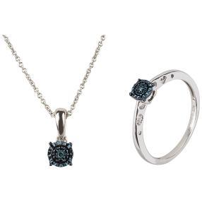 Set 2 teilig 925 St. Silber Diamanten blau