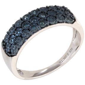 Ring 925 Sterling Silber, Diamanten blau