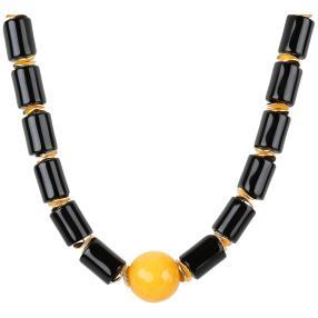 Collier Achat, gelb, schwarz