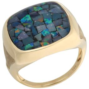 Ring 585 Gelbgold Mosaikopal Triplette
