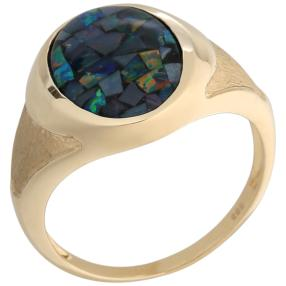 Ring 585 Gelbgold Mosaikopal Triplette