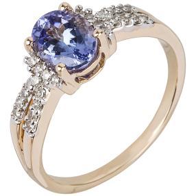 Ring 585 Gelbgold AATansanit, Diamanten