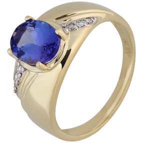 Ring 585 Gelbgold AAATansanit, Brillanten
