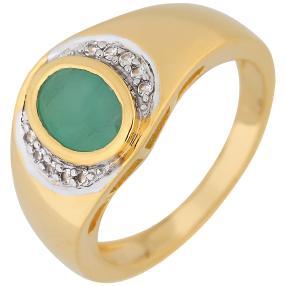 Ring 925 Sterling Silber vergoldet Smaragd