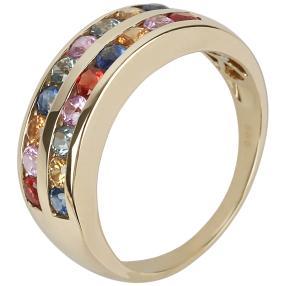 STAR Ring 585 Gelbgold Saphir multicolor