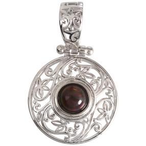 Clipanhänger 925 Sterling Silber Opal schwarz