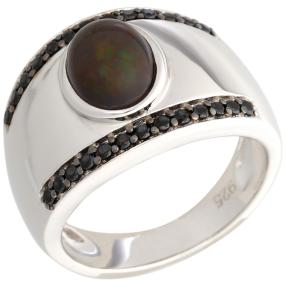 Ring 925 Sterling Silber Opal schwarz