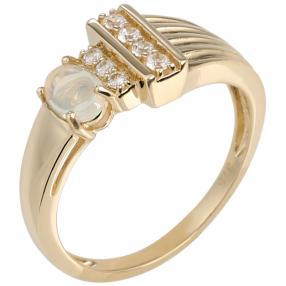 Ring 375 Gelbgold Äthiopischer Opal, Zirkon