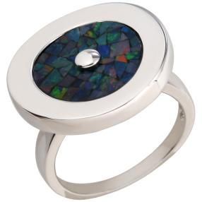 Ring 925 Sterling Silber Mosaikopal Dublette