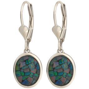 Ohrhänger 925 Sterling Silber Mosaikopal Triplette