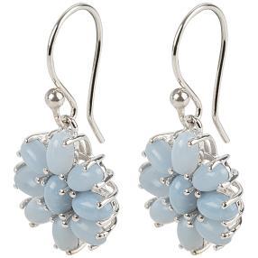 Ohrhänger 925 Sterling Silber Opal taubenblau