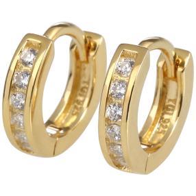 Creolen 925 Sterling Silber vergoldet Zirkonia