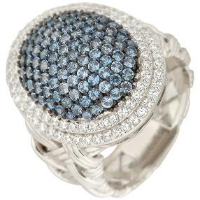 Ring 925 Sterling Silber Zirkonia blau, weiß