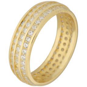 Ring 925 Sterling Silber vergoldet Zirkonia