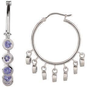 Creolen 925 Sterling Silber Tansanit