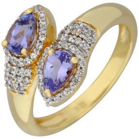 Ring 925 St. Silber vergoldet Tansanit, Zirkon