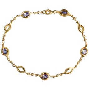 Armband 925 St. Silber vergoldet Tansanit, Zirkon