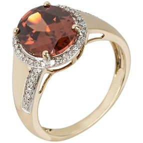 Ring 585 Gelbgold AAAZirkon orange, Diamanten