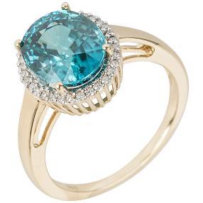 Ring 585 Gelbgold AAAZirkon blau, Diamanten