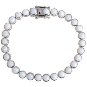 Armband 925 Sterling Silber rhodiniert, Opal weiß