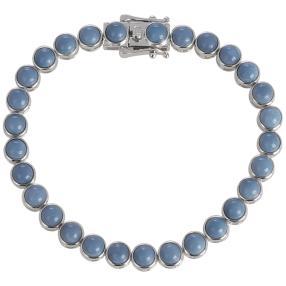 Armband 925/-Silber rhodiniert, Opal blau