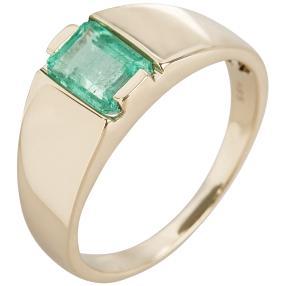 STAR Ring 585 Gelbgold Kolumbianischer Smaragd