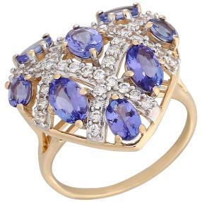 Ring 585 Gelbgold, AA+Tansanit, Größe 18
