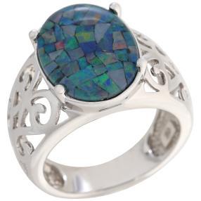 Ring 925 Sterling Silber Mosaikopal Triplette