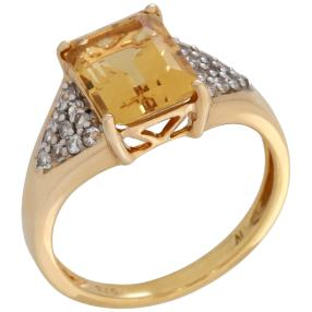 Ring 375GG Goldberyll mit Zirkon