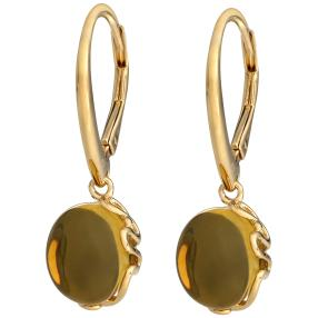 Ohrhänger 925 St. Silber vergoldet Bernstein grün