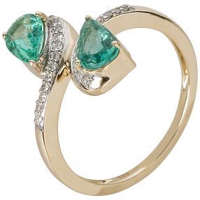 Ring 585 Gelbgold Sambia Smaragd, Diamanten