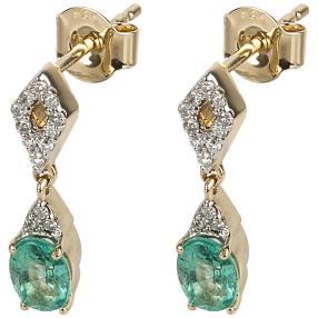 Ohrhänger 585 Gelbgold Sambia Smaragd, Diamanten